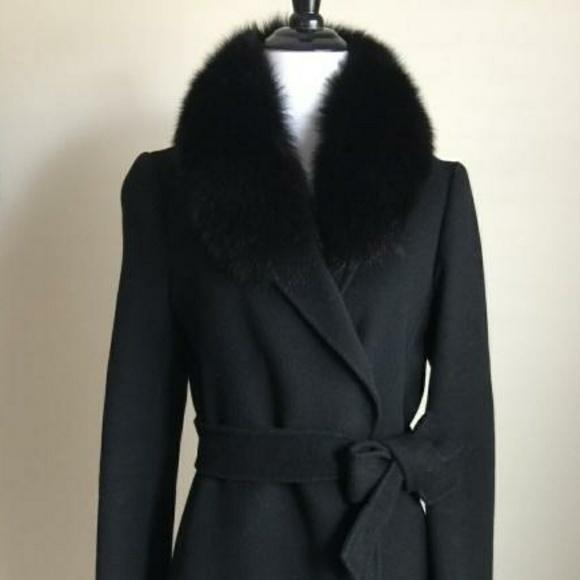 good service amazing selection discount Jackets & Coats | Handmade Black Wool Coat With Fox Fur Collar ...